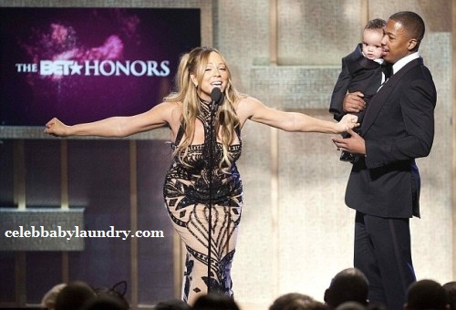 Mariah Carey and Nick Cannon at the 2012 BET Honors in Washington DC. Cannon Brings Son Moroccan on Stage.