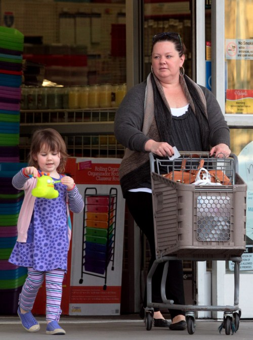 Melissa McCarthy took her daughter Vivian Falcone shopping at Michaels Arts & Crafts in Burbank, California on January 30, 2012.