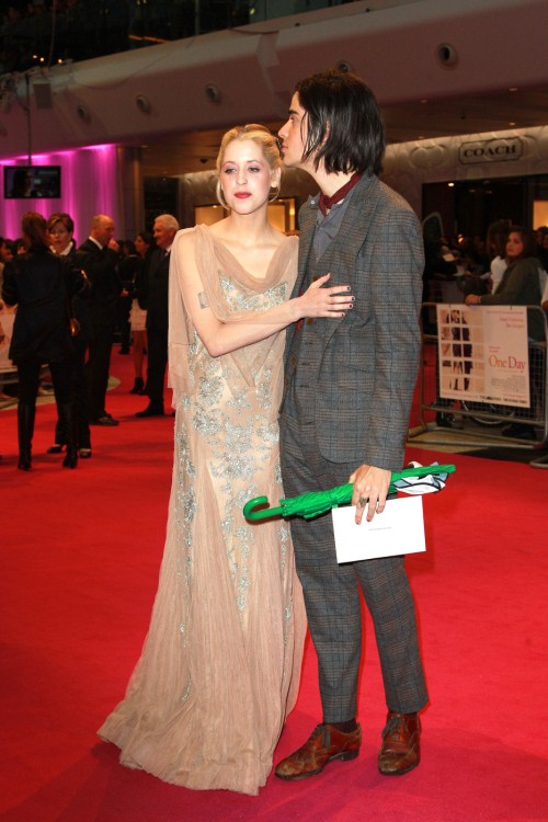 "Peaches Geldof and boyfriend Tom Cohen on the star-studded red carpet at the European premiere of ""One Day"" at The Vue Westfield in West London 08-23-2011"