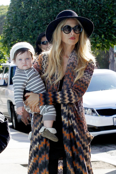 Rachel Zoe carries her adorable baby son Skyler as she does some shopping on Robertson Blvd in West Hollywood