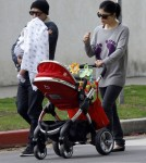 Selma Blair and her boyfriend Jason Bleick out for a walk with their son Arthur in West Hollywood, CA on January 22, 2012