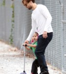 Tobey Maguire Hits The Park With His Family