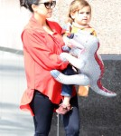 Expecting mom Kourtney Kardashian and her son Mason Disick made their way to the Kidnasium in Santa Monica, California on February 28, 2012.