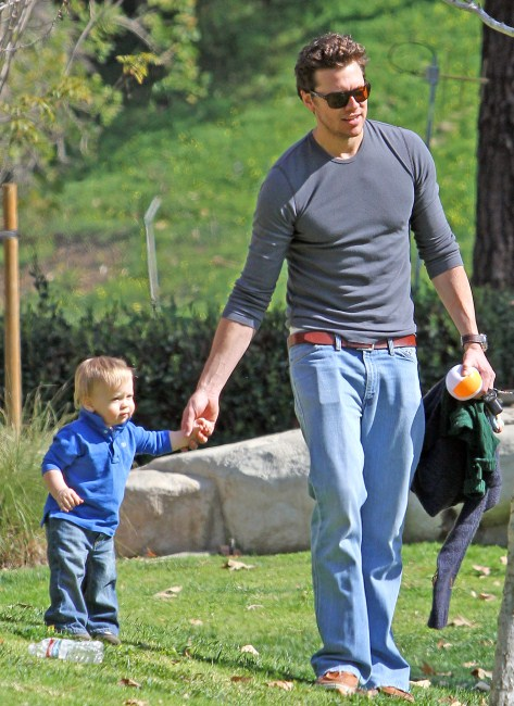 Hayes MacArthur, husband of actress Ali Larter, enjoyed a day at the park with his son Theodore on February 19, 2012.