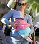 Actress Kristin Davis enjoyed lunch at a local eatery in Brentwood, California on February 16, 2012 with her adopted daughter Gemma Rose Davis and a few friends.