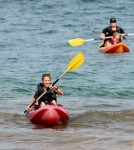 Sheryl Crow takes her sons Wyatt and Levi for a Kayak ride in the ocean while on vacation in Maui, Hawaii.