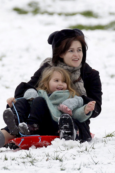 Tim Burton & Helena Bonham Go Sledding With Their kids