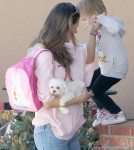 Pregnant Victoria's Secret model Alessandra Ambrosio seen picking up her daughter Anja Mazur from school in Santa Monica, CA on February 22, 2012. Alessandra brought along her puppy for Anja to play with.