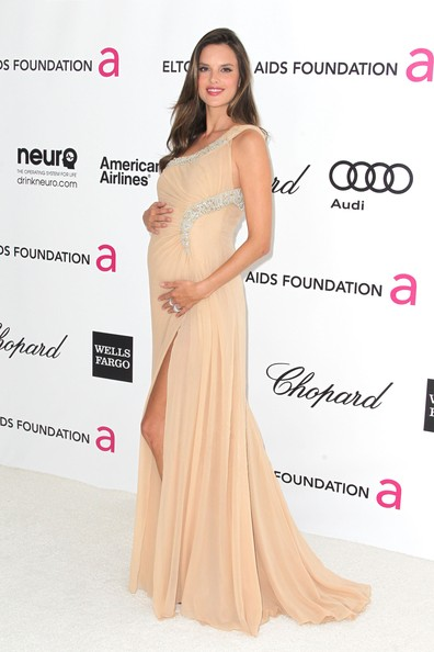 Alessandra Ambrosio Shows Off Her Bump At Elton John's Oscar Party