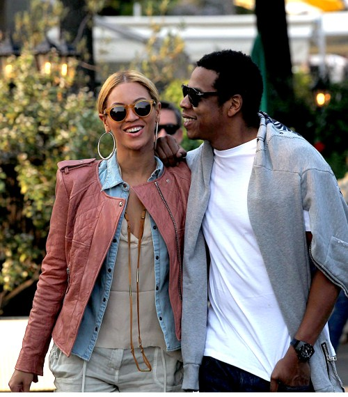 Singer Jay-Z takes a stroll through the streets of Paris, France with his wife Beyonce Knowles on April 25, 2011.
