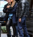 Beyonce Knowles and Jay-Z take their daughter Blue Ivy Carter out for a late lunch at Sant Ambroeus in New York City, NY on February 25, 2012.
