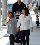 NBA player Caron Butler enjoyed a day out with his family in Beverly Hill, California on February 25, 2012. He took a stroll with his wife Andrean daughters Mia, Camary and son Caron Jr. after lunch at a local Chipotle Mexican Grill.