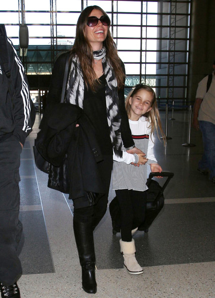 Christian Bale And Family Arriving For A Flight At LAX