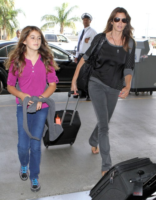 Model Cindy Crawford and her daughter Kaia Gerber arriving for a flight at LAX airport in Los Angeles, CA..