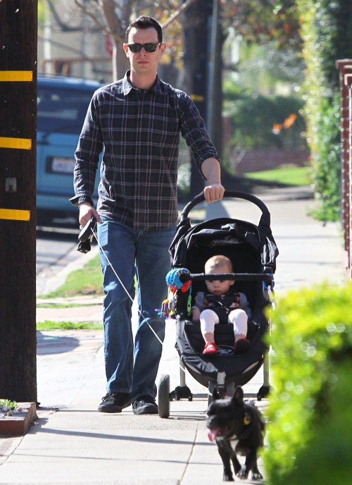 Colin Hanks enjoyed a stroll with his daughter Olivia Jane and the family dogs on February 1, 2012
