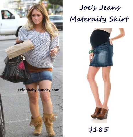 Hilary Duff Maternity Style : Joe's Jean Skirt
