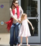 pregnant actress Jennifer Garner takes her daughters Violet and Seraphina on a trip to the public library on February 23, 2012 in Santa Monica, CA.
