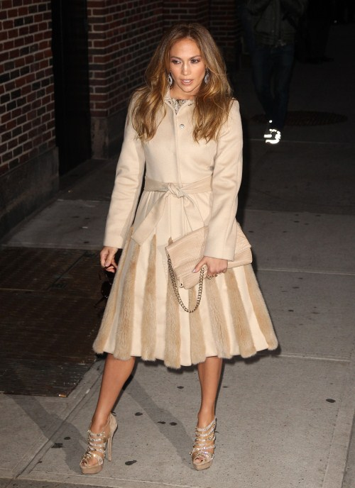 "Jennifer Lopez stops by the ""David Letterman Show"" to promote ""Q'Viva"" in New York, New York on January 30, 2012."