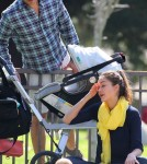 Jessica Alba and husband Cash Warren with daughters Honor and Haven at a park in Los Angeles February 18