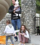essica Alba and her husband Cash Warren play with their kids Honor and Haven at Coldwater Park on February 12, 2012 in Beverly Hills, CA.
