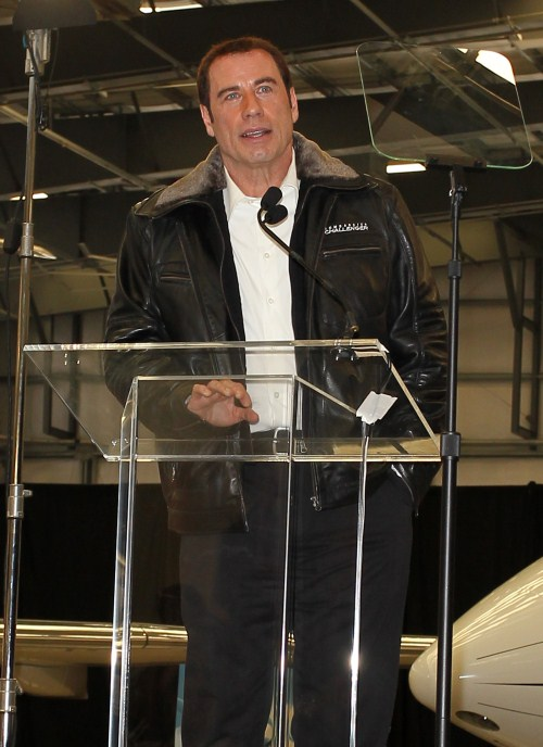 "Actor John Travolta attends the Bombardier Hollywood Private Jet Showcase in Burbank, Ca on September 20, 2011. The star has become the ""Brand Ambassador of the Bombardier's Learjet, Challenger and Global business jets as a promotion."