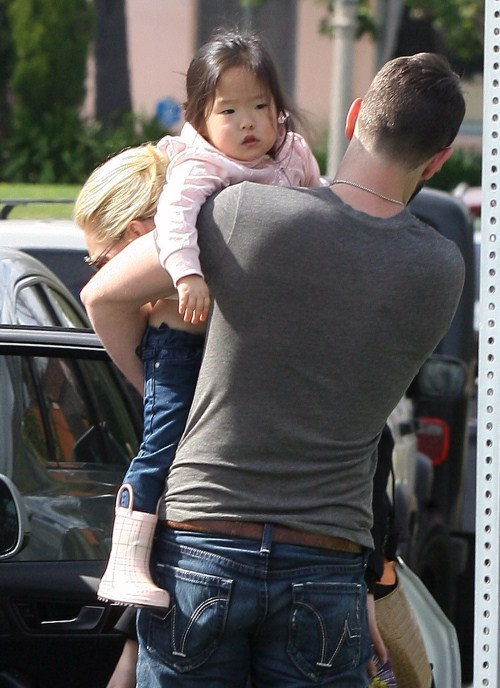 katherine Heigl was out and about in Hollywood, California on February 11, 2012 with her husband Josh Kelley and their adopted daughter Naleigh