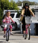 Mira Sorvino enjoyed a bike ride through a Malibu, California neighborhood with her daughter Mattea Backus on February 12, 2012.