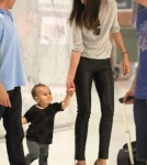 Model Miranda Kerr and her son Flynn Bloom catching a flight to Los Angeles in Sydney, Australia on February 28, 2012