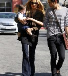 rachel Zoe and son Skyler grab a bite to eat with a friend at Hugo's Restaurant in Los Angeles, California on February 23, 2011.