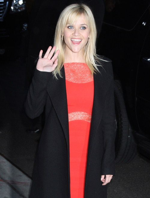 Reese Witherspoon arrived at the Ed Sullivan Theater in new York City, New York on February 13, 2012 for an appearance on the Late Show With David Letterman.