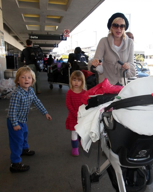 Tori Spelling and her family arrived at LAX airport in Los Angeles, California on February 12, 2012 ready to take flight out of town.