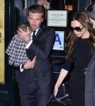 Victoria and David Beckham take their baby Harper to Balthazar restaurant in New York City, NY on February 12, 2012