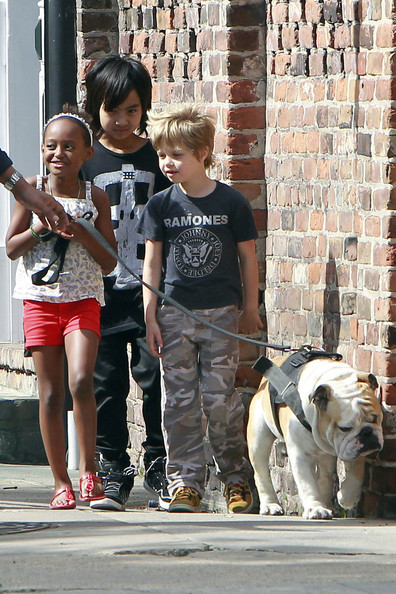 The Jolie-Pitt Kids Take Their Bulldog For A Walk