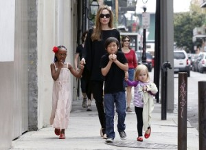 Angelina Jolie With The Children