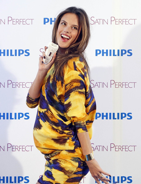 Pregnant model Alessandra Ambrosio presents the new Phillips Satin Perfect at the ME Hotel in Madrid, Spain.