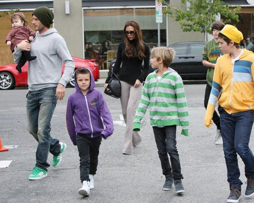 Soccer star David Beckman took his family out for lunch at Tsujitsa Artisan Noodles and then went shopping at the Black market store in los Angeles, California on March 17, 2012.