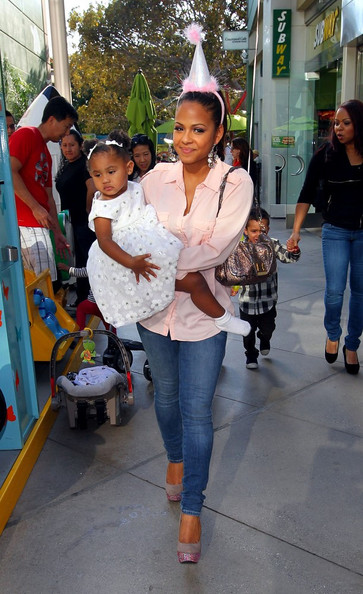 Christina Milian celebrates her daughter Violet's second birthday with friends and family at Giggles N Hugs children's restaurant.