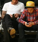 David Beckham at the Lakers/Heat game with Brooklyn (March 4).