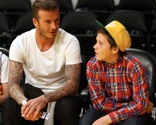 David Beckham Treats Son To Courtside Lakers Tickets