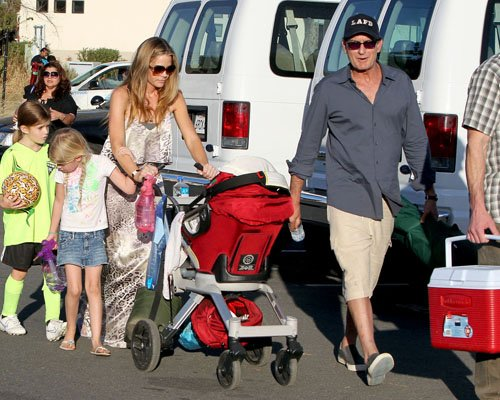 Charlie Sheen and Denise Richards at their daughter Sam's soccer game in Los Angeles (March 4).