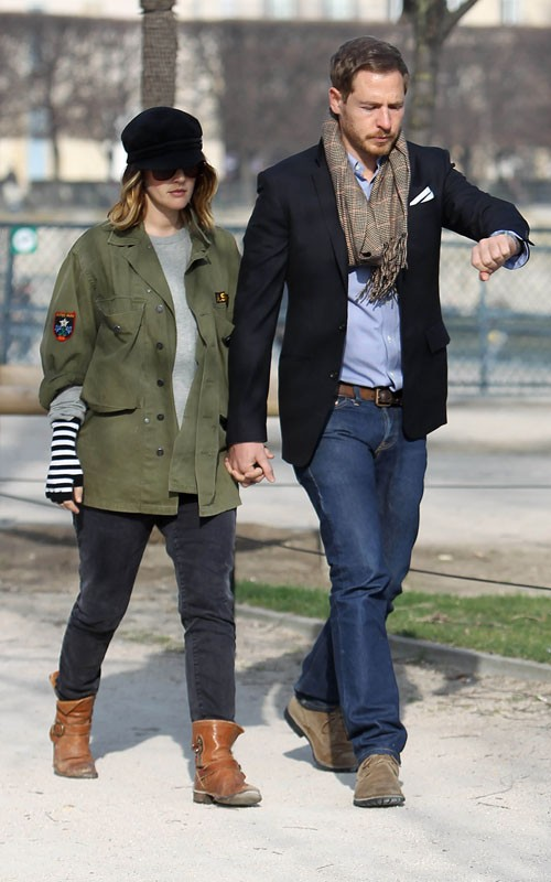 Drew Barrymore vacationing with her fiance in Paris, France March 13