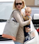January Jones and her baby son Xander visit a Dr's office in Los Angeles,