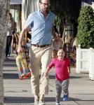 """Alvin And The Chipmunks' actor Jason Lee and his daughter Casper out shopping at American Rag in West Hollywood, California on March 11, 2012"