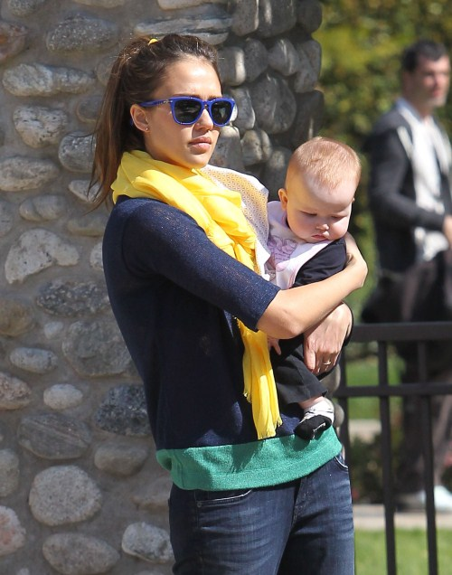 Actress Jessica Alba and husband Cash Warren take their daughters Honor and Haven to the Coldwater Canyon Park in Beverly Hills, CA on February 18, 2012.