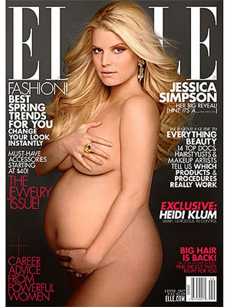 Jessica Simpson NAKED & Pregnant On The Cover of Elle Magazine (PHOTO)