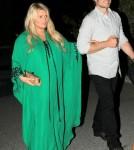 Jessica Simpson attends Lauren Zelman and Bret Harrison's rehearsal dinner at Las Casuelas Nuevas mexican restaurant in Palm Springs