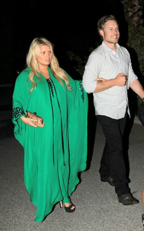 Jessica Simpson attends Lauren Zelman and Bret Harrison's rehearsal dinner at Las Casuelas Nuevas mexican restaurant in Palm Springs