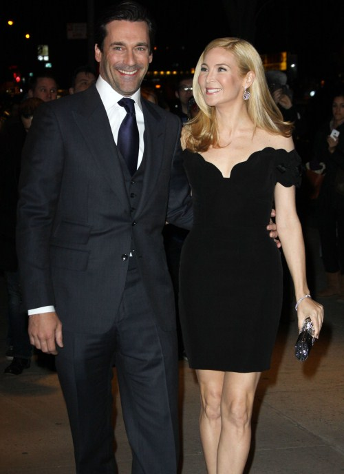 "The Cinema Society & People StyleWatch with Grey Goose hosts a screening of ""Friends With Kids,"" held at the SVA Theater in New York City, New York on March 5, 2012. Among those in attendance Jon Hamm with Jennifer Westfeldt"