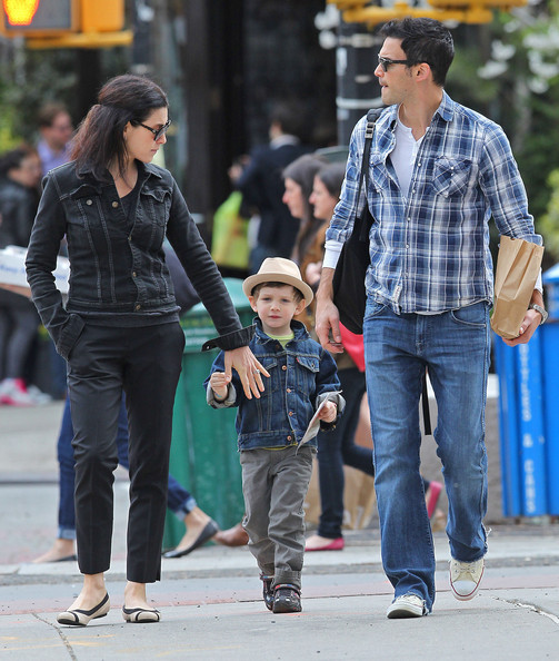 Actress Julianna Margulies and her husband Keith Lieberthal out for a walk with their son Kieran through Tribeca in New York City, NY on March 24, 2012.