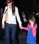 Katie Holmes and Suri Cruise step out for dinner at Joanne on the Upper West Side in New York City, NY on March 21, 2012.